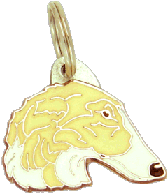 BORZOI WHITE AND CREAM - pet ID tag, dog ID tags, pet tags, personalized pet tags MjavHov - engraved pet tags online